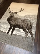 Modern Approx 8x5ft 160x230cm Woven Backed Quality rug stag Light Greys/Cream
